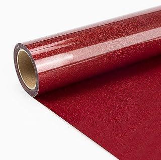 "JANDJPACKAGING Red Glitter HTV Vinyl Roll - 10"" x 10FT Red Glitter Heat Transfer Vinyl for Cricut and Silhouette Cameo"