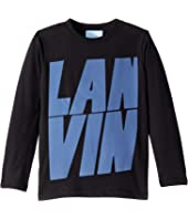 Lanvin Kids - Long Sleeve T-Shirt with Oversized Printed Logo (Toddler/Little Kids)