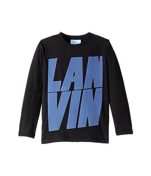 Lanvin Kids Long Sleeve T-Shirt with Oversized Printed Logo (Toddler/Little Kids)