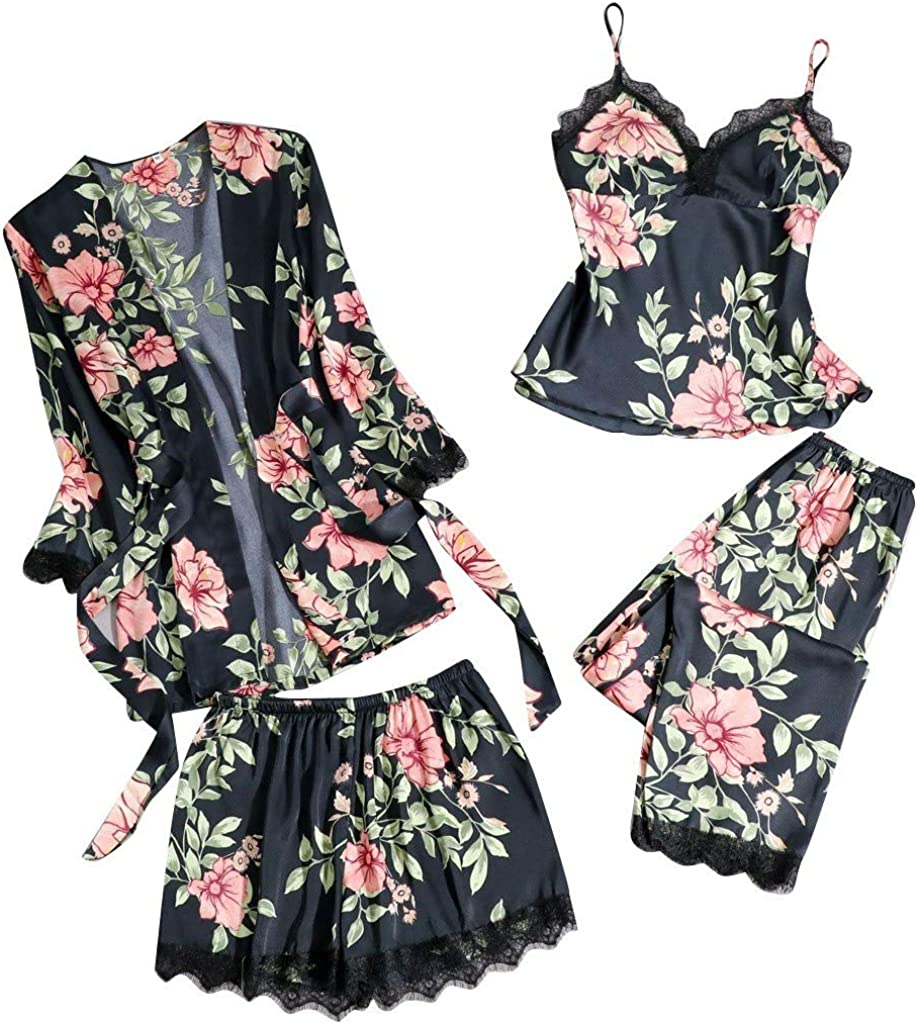 Hotkey Womens Lingerie Sexy Silk Satin Pajamas Set 4PCS Nightgown Cami Top Shorts Underwear Robe Sets Teddy Sleepwear