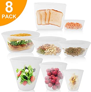 EEEKit 8-Pack Reusable Silicone Food Bag Zip Lock Containers, BPA Free Leakproof Cup Pattern Dishes Storage Bags for Fruit/Snack/Vegetables, Microwave Dishwasher & Freezer Safe