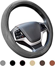 ATMOMO Non-Slip Crystal Steering Wheel Cover PU Leather with Bling Handcraft Diamond 15 Inch Car Steering Wheel Protector for Female Girls Black