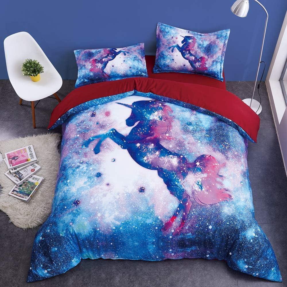 89/×94//240/×225cm Beddinginn Teal Unicorn Bedding Set Girls Unicorn Bed Cover Set 3D White Flying Unicorn Duvet Cover Set for Child No Comforter Queen