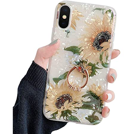 """Qokey Compatible with iPhone Xs Case,iPhone X Case Cute Clear for Men Women Girls with 360 Degree Rotating Ring Kickstand Soft TPU Shockproof Cover Designed for iPhone X/XS 5.8"""" Clear Sunflower"""