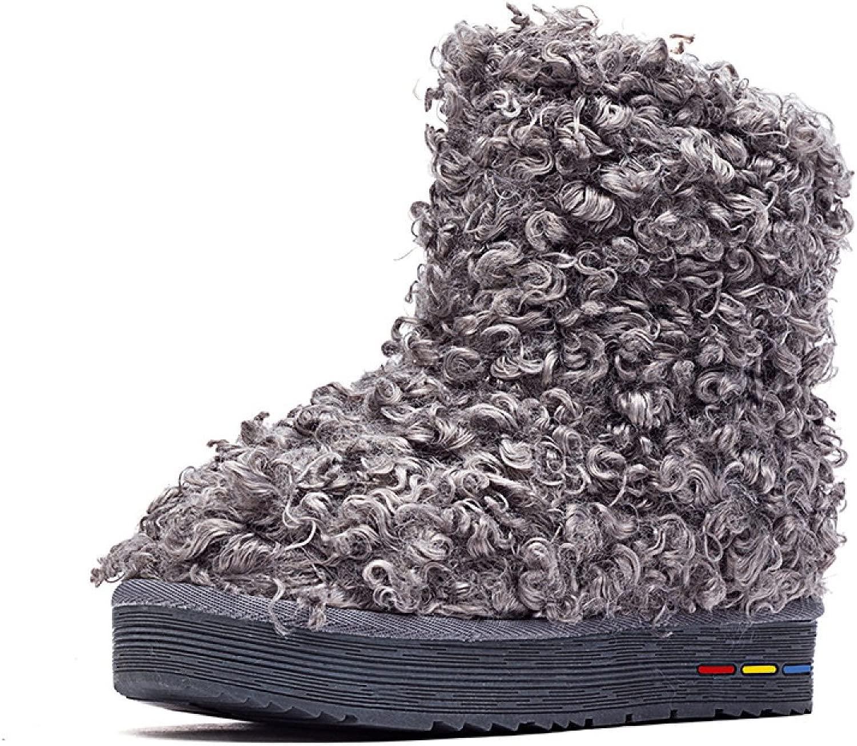 GTYMFH GTYMFH Stiefel Nachahmung Lamm Haare Baumwolle Schuhe Warm Schnee Baumwolle Schuhe In Der Tube Flach Stiefel Schnee Stiefel  Ladenräumung