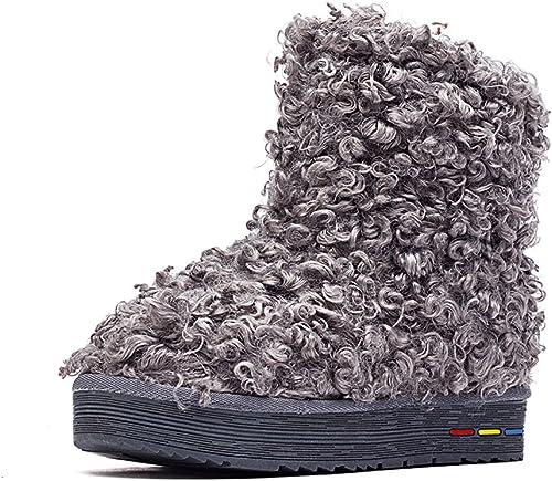 GTYMFH Stiefel Nachahmung Lamm Haare Baumwolle Schuhe Warm Schnee Baumwolle Schuhe In Der Tube Flach Stiefel Schnee Stiefel