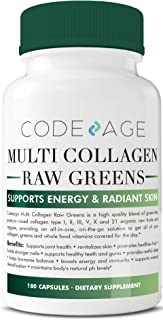 Multi-Collagen Pills + Raw Greens Superfood - 180 Count - Grass-Fed Collagen Type I, II, III, V, X and 21+ Organic Whole Foods (Celery Seed Extract, Spirulina, Chlorella, Broccoli) All-in-One