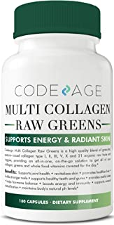 Codeage Multi Collagen Pills and Raw Greens Superfood, Grass Fed Collagen Type I, II, III, V, X and 21 Organic Nutritions, 180 Capsules