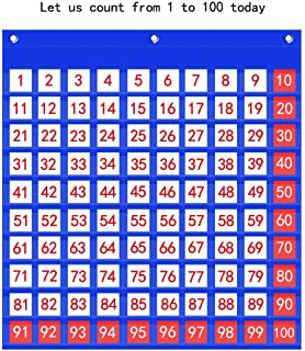 Godery Hundreds Pocket Chart, Number 1-100 Board Charts for Classroom, Teacher Helper Pocket Charts with 130 Cards (100 Pocket)