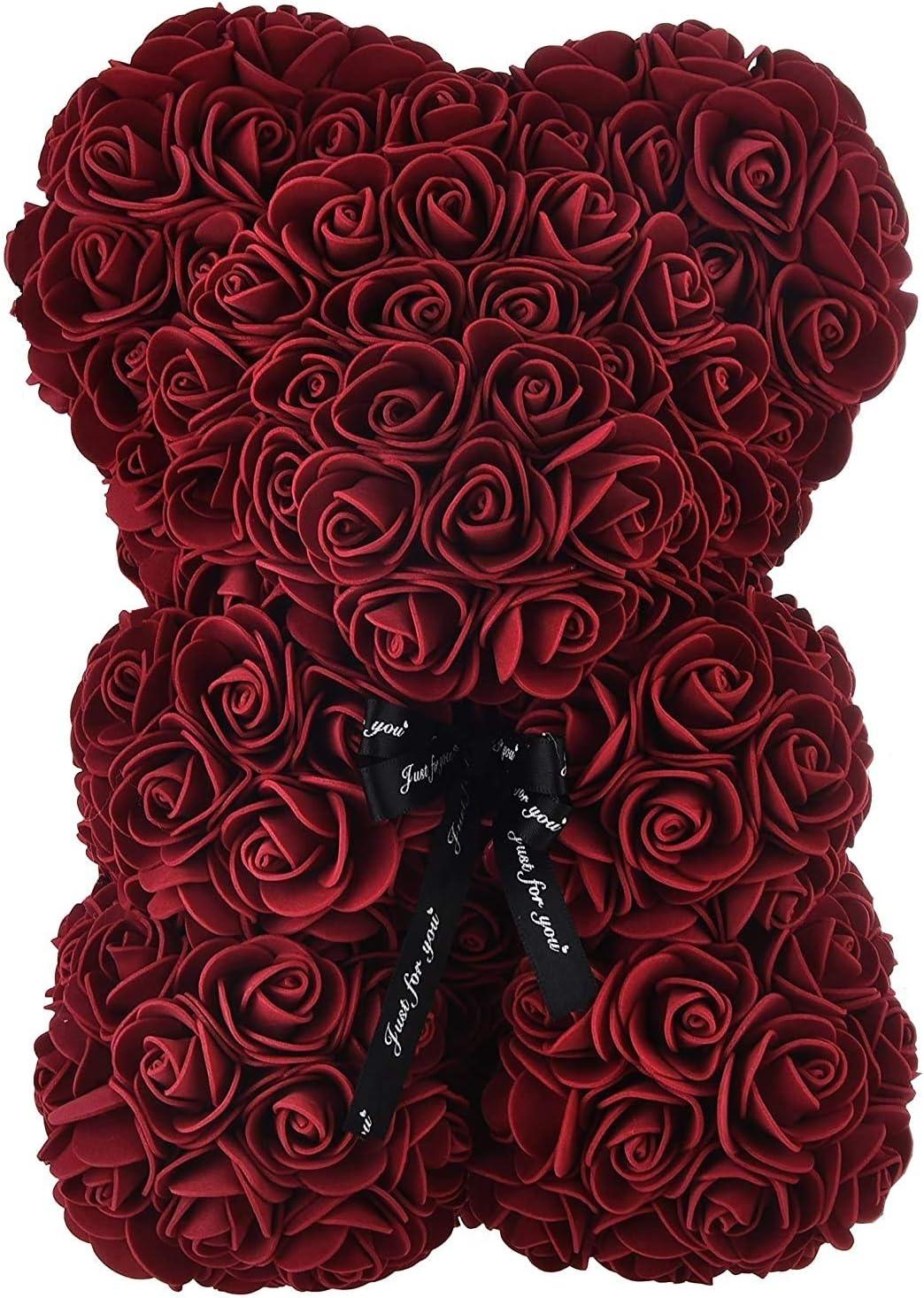 Geschenk zum Jahrestag Geburtstag Muttertag Hochzeitstag Teddyb/är aus ewigen Rosen Perfekt zum VALENTIENSTAG FlyHigh Weinroter Rosenb/är mit S/ü/ßer Schleife