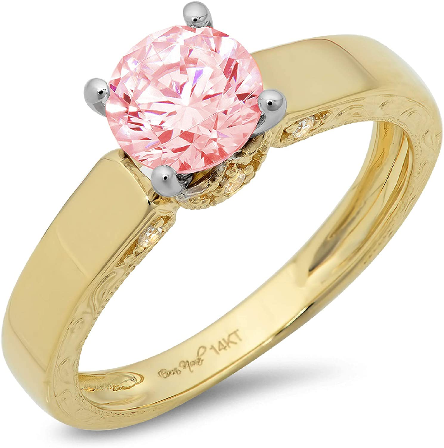 1.64ct Brilliant Round Cut Solitaire Pink Ideal VVS1 Simulated Diamond CZ Engagement Promise Statement Anniversary Bridal Wedding with accent Ring Real 14k 2 tone Gold