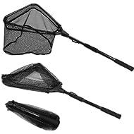 PLUSINNO Fishing Net Fish Landing Net, Foldable Collapsible Telescopic Pole Handle, Durable Nylon...