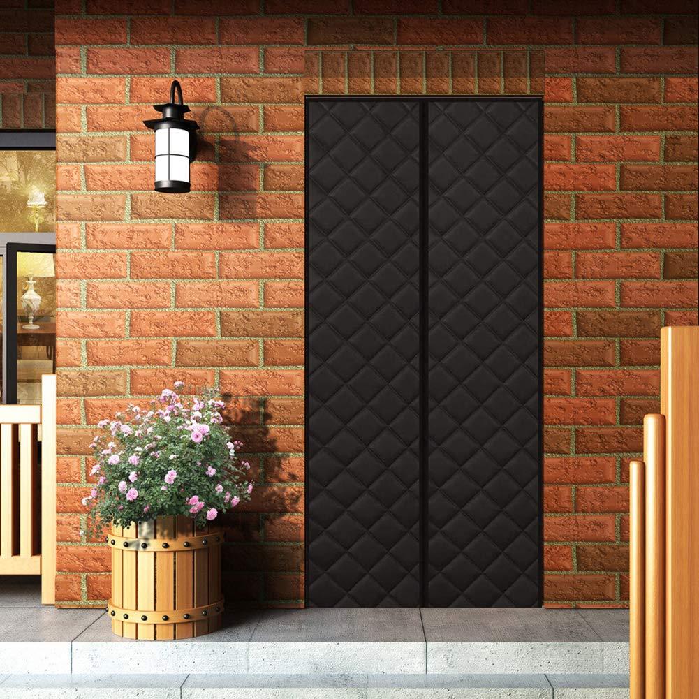 AMENZ Cortina De Algodón Invierno Puerta De Pantalla Magnética Adsorción Magnética Plegable Corredera para Correderas Balcones - Negro 135x205cm(53x80inch): Amazon.es: Hogar