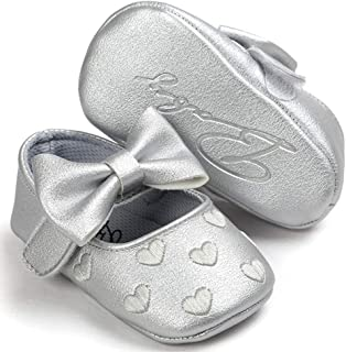 KISSOURBABY Baby Girls Mary Jane Flats Anti-Slip Rubber Sole Bow Toddler Princess Dress Shoes