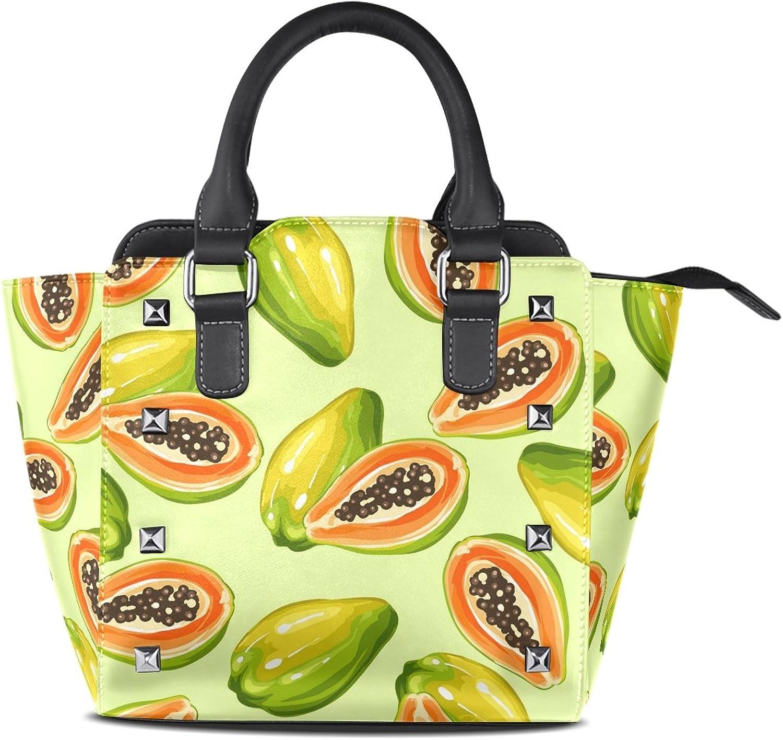 My Little Nest Women's Top Handle Satchel Handbag Pawpaw Ladies PU Leather Shoulder Bag Crossbody Bag