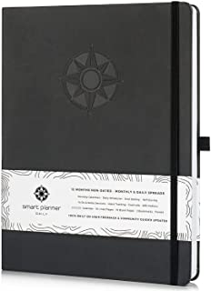 Smart Planner Daily 2020-2021 - Achieve Goals & Increase Productivity, Time Management & Happiness - Daily Weekly Monthly Planner with Gratitude Journal, Hardcover, Undated (Black)