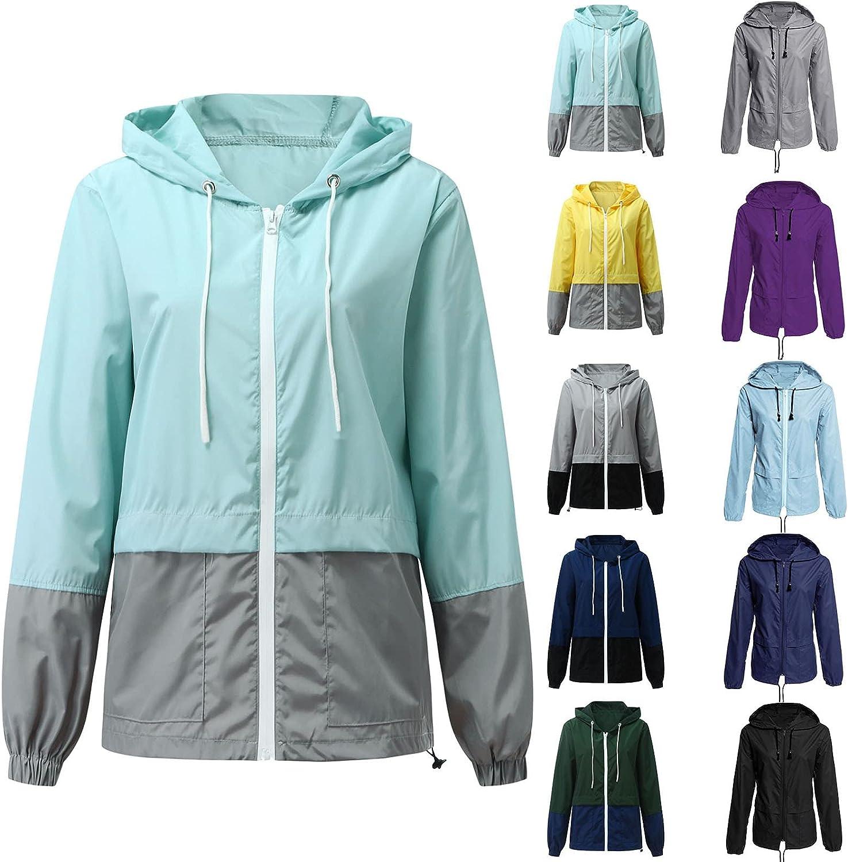 Fankle Raincoat Women Lightweight Waterproof Rain Jackets Packable Outdoor Casual Hooded Windbreaker for Camping