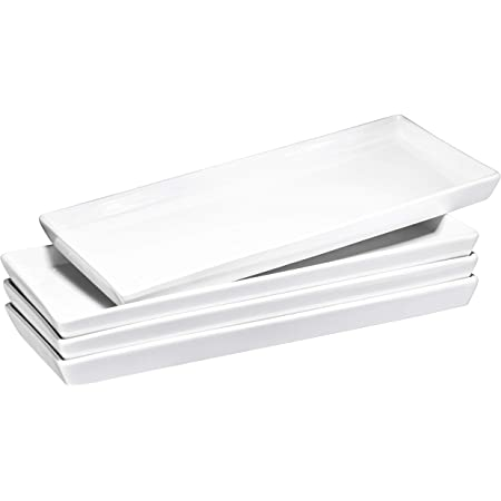 Amazon Com Dowan Serving Platter 14 Serving Tray Sushi Plate Serving Plates Set Of 4 Dishwasher Microwave Safe Rectangular Serving Dishes For Party White Platters