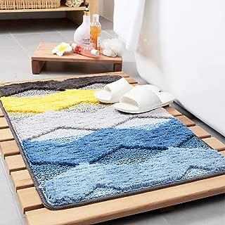 Tiita Front Door Rugs Shaggy Non-Slip Bath Rug Absorbent Floor Foot Mat Microfiber Striped Pad Shower Rug 20x32 inch Yellow