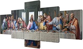 Jesus Christ Wall Art Wooden Framed Art Last Supper by Leonardo da Vinci Pictures 5 Piece Canvas Home Decor for Living Room Painting Modern Artwork Giclee Posters and Prints Ready to Hang(50''Wx24''H)