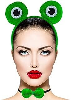Lux Accessories Halloween Girls Fun Green Huge White Black Eye Frog Bowtie Tail Costume Dressup