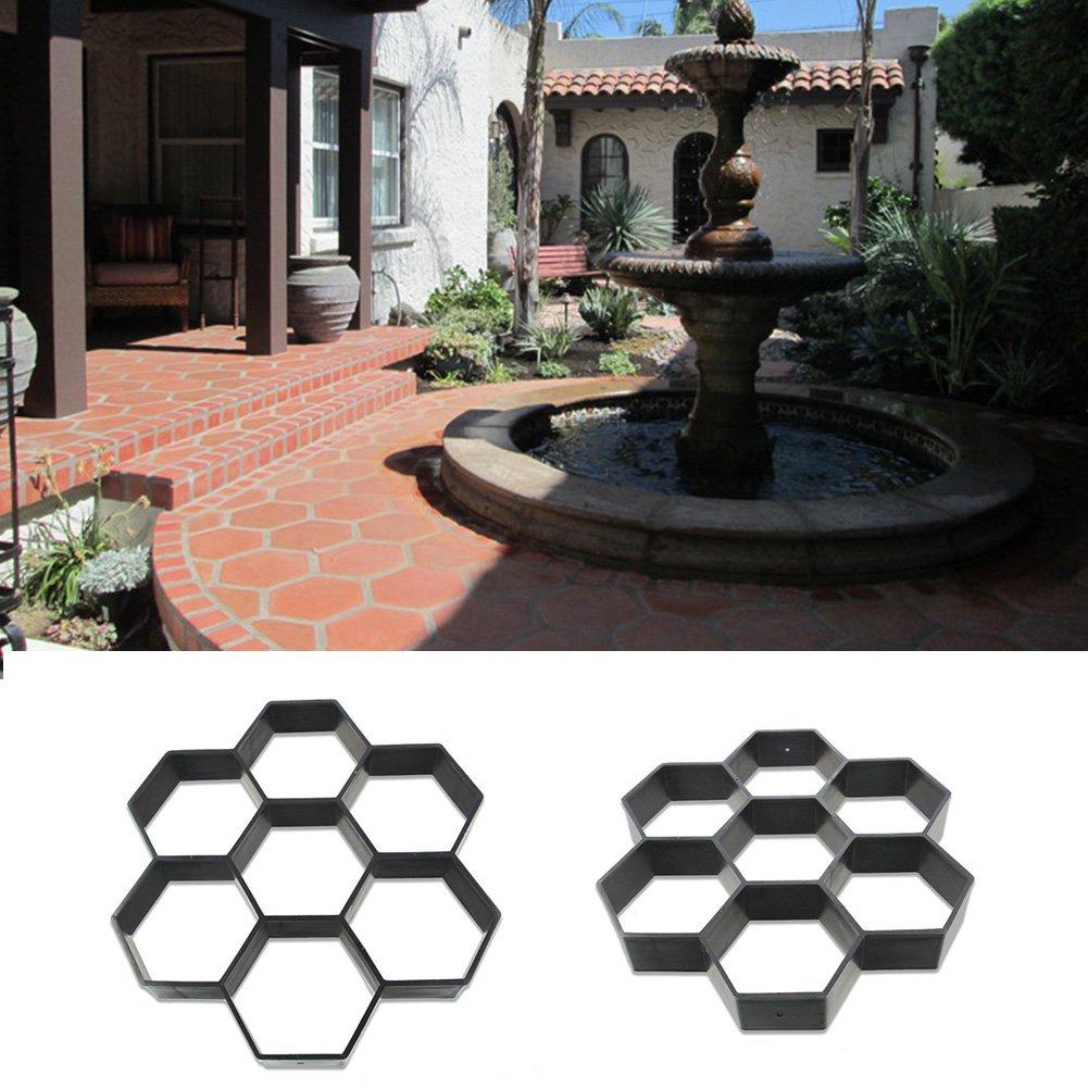 GEZICHTA Molde de jardín para pavimento de jardín de la marca molde de hormigón de pavimento manual, moldes de hormigón de piedra de ladrillo para caminos, negro: Amazon.es: Deportes y aire libre