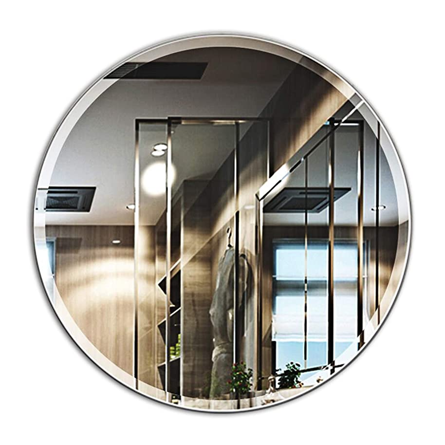 MIRROR TREND 28-Inch Round Frameless Mirror Large Beveled Wall Mirror Solid Core Wood Backing Wall Mirror for Bathroom, Vanity, Living Room, Bedroom