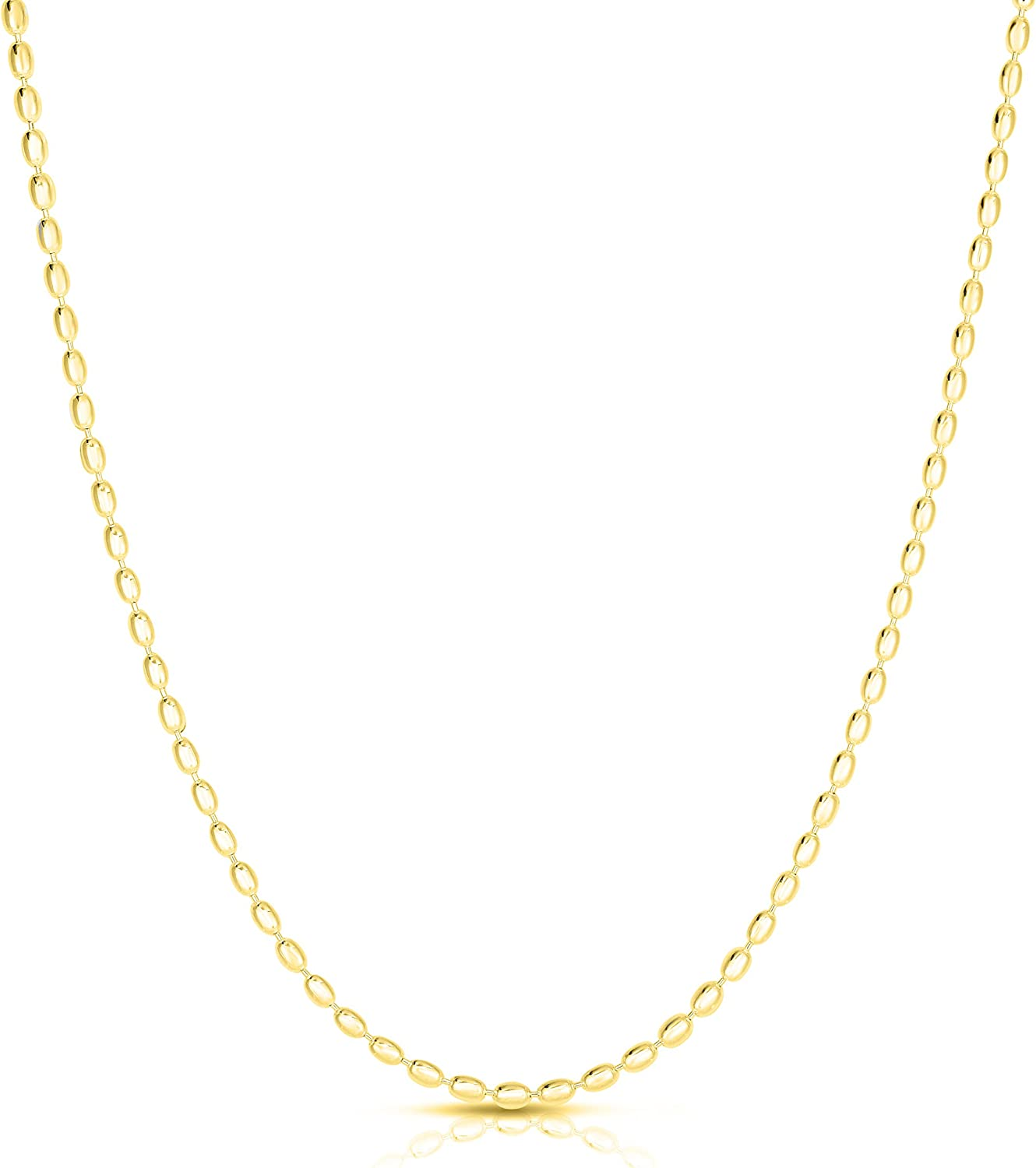 925 Sterling Silver Oval Bead お得セット 2.3MM 4MM ハイクオリティ 3MM Necklace