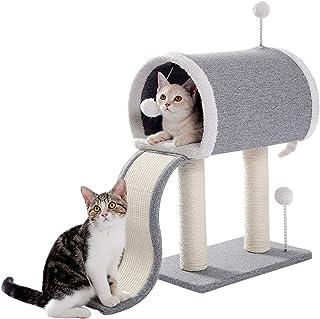 [Amazonブランド] Umi.(ウミ)キャットタワー 据え置き型 小型 猫用爪とぎポール お洒落 爪とぎタワー ポスト型 ネコポール 麻縄 手巻き 可愛い つめとぎ 組立簡単 支柱 ミニ 高さ53.5cm グレー