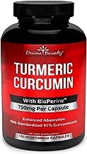 Turmeric Curcumin with BioPerine Black Pepper Extract - 750mg per Capsule, 120 Veg. Capsules - GMO Free Tumeric, Standardized to 95% Curcuminoids for Maximum Potency