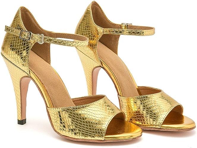 GUOSHIJITUAN Wohommes Chaussures De Danse Latine,Fond Mou Cuir Chaussures De Danse talons hauts Serpentine Chaussures De Tango