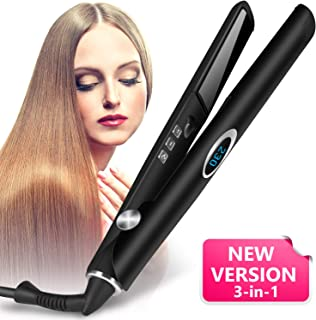 Hair Straightener - VIVK Titanium Flat Iron 1 Inch 3D Floating Plates & Digital LCD Display, Dual Voltage Adjustable Temperature and Anion Generator Suitable for All Hair Types(Black)