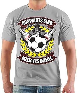 Männer und Herren T-Shirt Ultras Auswärts sind wir asozial mit Rückendruck Größe S - 8XL