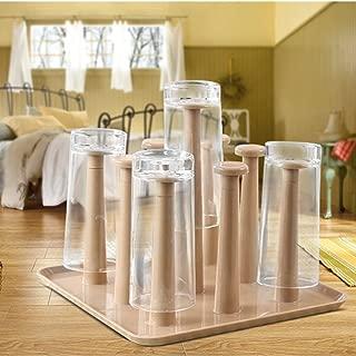 FashionMall Home Bathroom Coffee Tea Drinking Cup Mug Organizer Drying Drain Rack Holder,3 Color Cups Drying Holder Rack For 9 Mugs (Brown)