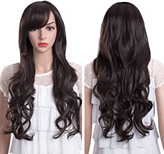 MelodySusie Long Big Curly Wig for Women, 31 inches Hair Replacements Wig with Bang, Synthetic Fiber, Natural as Human Hair, for Halloween Daily Party Cosplay Costume, Wig Cap Included, Dark Brown