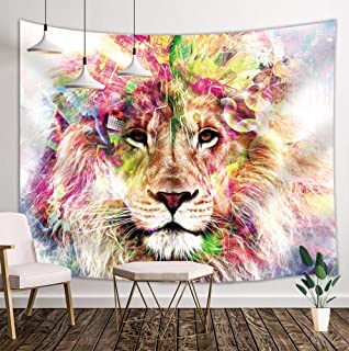NYMB Lion Tapestry Safari, Mystic Forest Wild Animals Boho Watercolor Style, Hippie Wall Art Hanging for Bedroom Living Room Dorm, 71 X 60 Inches Wall Blankets Bohemian Home Decor