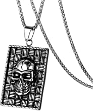 Gungneer Halloween Geometric Square Stainless Steel Skull Pendant Necklaces Jewelry Men Women