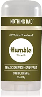 """Humble All Natural Deodorant, Aluminum and Paraben Free, Cruelty Free Men'""""s and Women'""""s Deodorant, Texas Cedarwood and G..."""