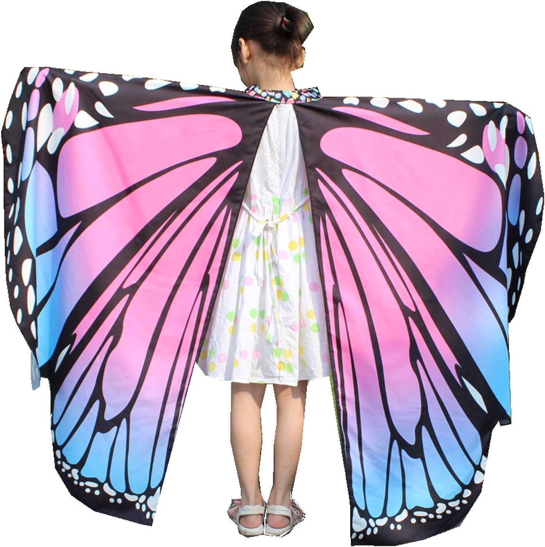FEOYA Women Girls Soft Fabric Butterfly Wings Halloween Shawl Fairy Ladies Nymph Pixie Costume Accessory