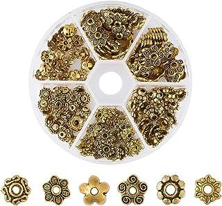 2842e4e05b27a Pandahall 1Box 180pcs Tibetan Style Alloy Flower Petal Bead Caps Beads  Spacers for Jewelry Makings