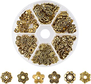 Pandahall 1Box/180pcs Tibetan Style Alloy Flower Petal Bead Caps Beads Spacers for Jewelry Makings 7-10mm in Diameter Antique Golden TIBE-JP0002-AG