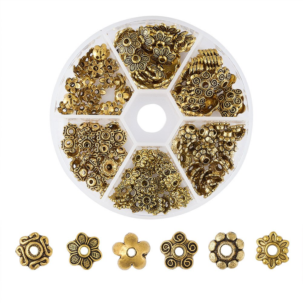 300PCS Antiqued Gold Metal Tube Flower Circle Spacer Beads for Jewelry Making