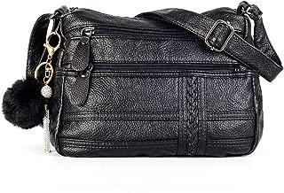 Crossbody Bags for Women Multi Pocket Shoulder Bag Pocketbooks PU Leather Purses and Handbags