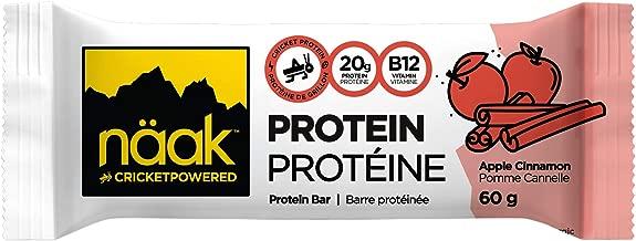Näak Cricket High Protein Bars - 20 Grams Complete Protein, 6 Grams Sugar, 13 Grams Fibre, All Natural Ingredients, High in B12 Vitamin, Iron, Calcium & Minerals (Apple Pie, 1 bar)