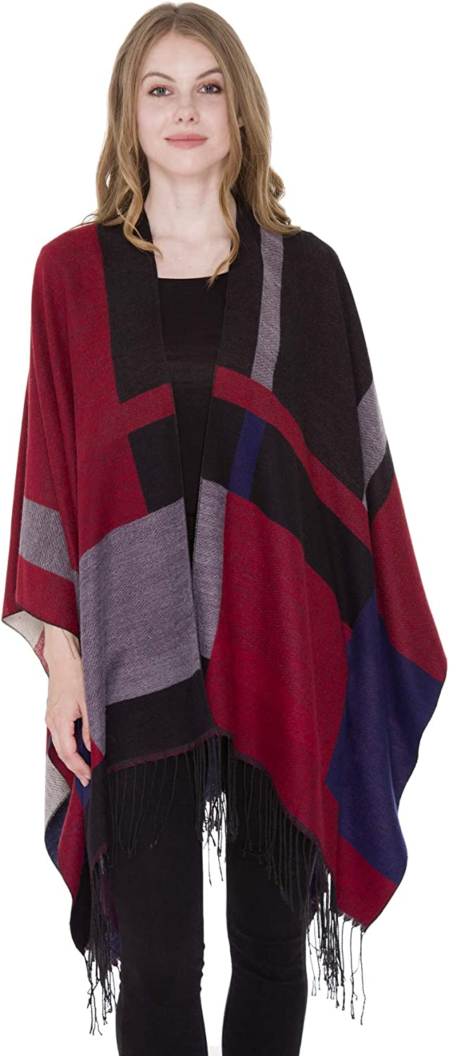 Womens Winter Stylish Open Front Ruana Poncho Sweater Warp,Various Patterns
