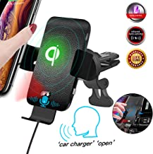 Qi Wireless Car Charger Voice Activated, Air Vent Phone Holder Infrared Sensor Auto Clamping, Leather Texture 10W Fast Wireless Car Charger for iPhone 11 Pro Max/XS/XR/X, for Samsung Note 10 Plus/S9