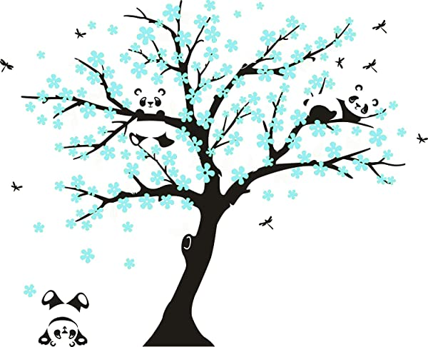 MAFENT Tree Wall Decals For Kids Room With Three Little Panda Bears Wall Stickers Nursery Wall Decals Room Decoration Black And Blue