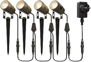 Aourow Led-Tuinverlichting,3W x 4 Warmwitte LED-Tuinlamp met Metalen Grondpen,IP65 Waterdichte Laagspanning-Tuinspot met S...