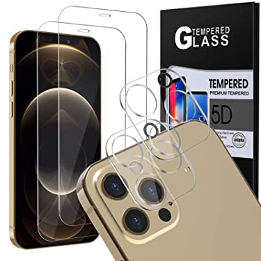 """[4Pack] 2 Pack Screen Protector Tempered Glass for iPhone 12 PRO Max 5G (6.7"""") + 2 Pack Camera Lens Protector Tempered Glass for iPhone 12 PRO Max, HD Clear Case Friendly Anti-Scratch Bubble Free"""