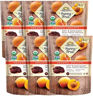 ORGANIC Turkish Dried Apricots - Sunny Fruit - (6 Bags) - (5) 1.76oz Portion Packs per Bag | Purely Apricot...
